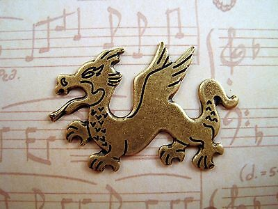 Large Oxidized Solid Brass Dragon Stamping (1) - BOS6766