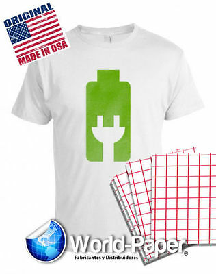 "INKJET HEAT TRANSFER RED GRID 8.5"" x 11"" FOR LIGHT COLOR TSHIRTS 200Pk  :)"
