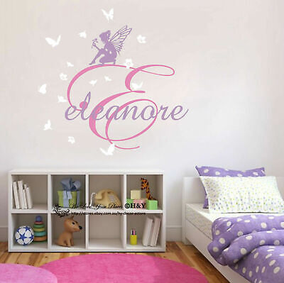Fairies Flower Custom Personalised Name Wall Stickers Kids  Nursery Decal Decor