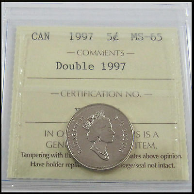 Canada RARE 1997 Double Date 1997 5 Cent Nickel Coin Graded ICCS MS-65 XLQ 656