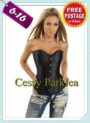 Basic Black Satin Bridal Corset Lace up Back Boning 6 8 10 12 14 16 S M L XL XXL