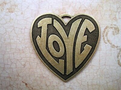 Large Vintage Oxidized Brass Plated (LOVE) Heart Stamping (1) - BOS8799