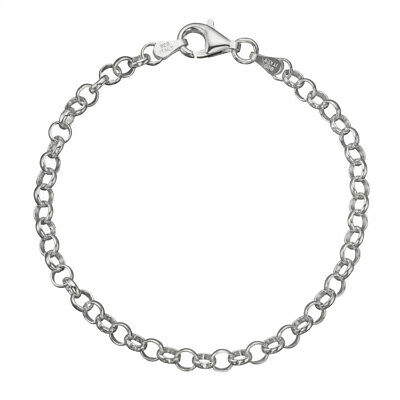 """925 Sterling Silver 4mm Italian Round Rolo Cable Link Chain Bracelet 7"""" - 8"""""""