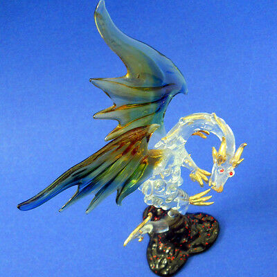 Glass Dragon Figurine Blue Yellow Wings Gold Feet, Tail Head Red Rhinstone Eyes