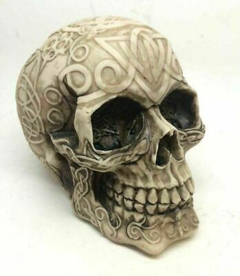 Tribal Celtic Tattoo Skull Skeleton Head Chief Halloween Decor Figurine Statue
