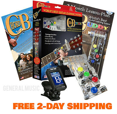 NEW CHORD BUDDY Guitar Learning System Teaching Practice Aid + DVD/Book Tuner