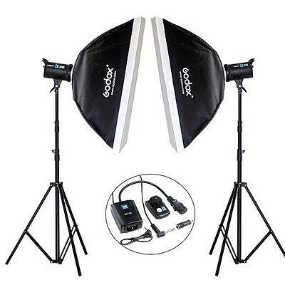600Ws Godox 2* DE300 Photo Studio Strobe Lighting Lamp Head Trigger Softbox kit