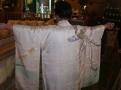 "FANCY 66"" long ORIENTAL silk KIMONO  gold and silver metalic thread birds"