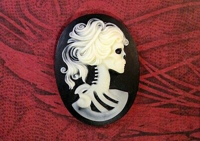 40x30mm Skeleton Goddess Cameo (1) - L469 Jewelry Finding