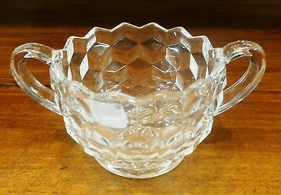 """Fostoria American Clear Open Sugar Bowl 5 In Handle  to Handle 2 1/2"""" H"""