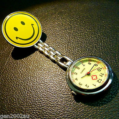 SMILEY GLOW IN THE DARK FACE NURSE FOB WATCH FREE POST from Australia