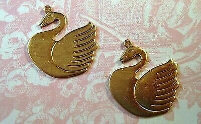 SG3802R Large Raw Brass Swan Charm Stampings 2