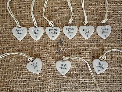 Miniature Porcelain Heart Token Gift Tag Love Wedding Mum East Of India Message
