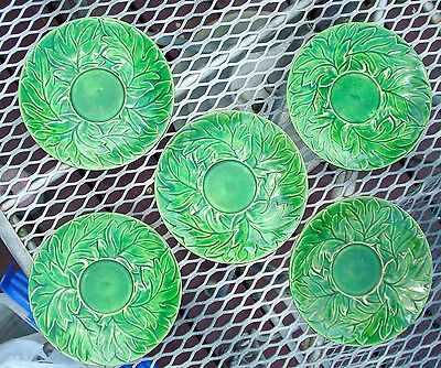 Five Vintage Maruhun Ware Handpainted Japan Green Leaf Plates