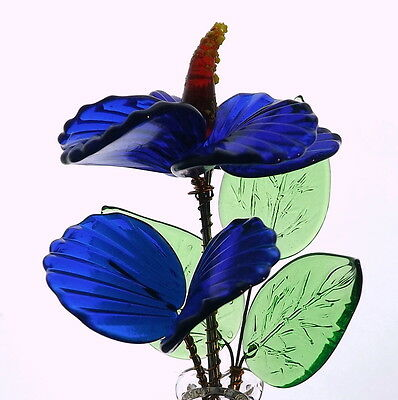 Precious Blue Small Crystal Glass Flower With Vase Delicate Gift For Wife Women