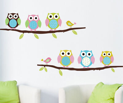 Colour Owls Branch Wall Sticker Removable Kids Nursery Decor Vinyl Decal Mural