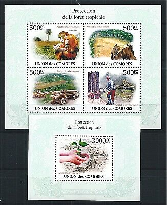 Comores Komoren 2010 Mini Sheet Block Set Save The Tropical Forest Apes **