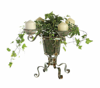 Vintage Rustic Metal Green Garden Plant Stand/Candle Holder~Wedding/Home Decor