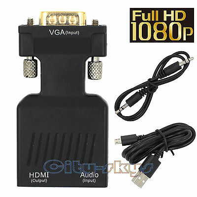 VGA to HDMI 1080P HD AV Converter HDTV Audio Video Cable Adapter for PC DVD STB