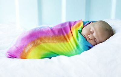 Rainbow Hand Dyed Soft Cotton Baby Shawl Swaddle Blanket
