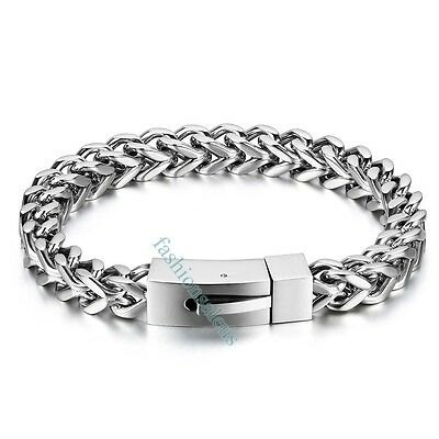 8mm Polished Silver-tone Stainless Steel Wheat Chain Men's Bangle Bracelets