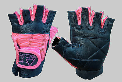 Women's Ladies Pink Gym fitness Leather Weight lifting bodybuilding Gloves S-XL