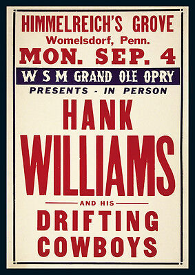 Hank Williams Womelsdorf Repro Tour Poster