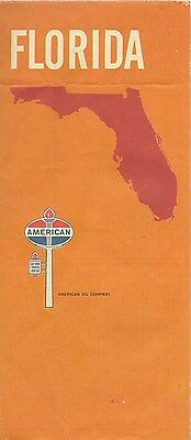 1969 AMERICAN OIL COMPANY Road Map FLORIDA Tampa Miami Jacksonville Tallahassee