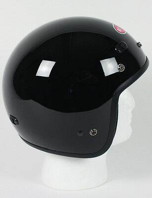 Black Open Face Retro Motorcycle Helmet DOT Vented Biker Cruiser Bobber M L XL +