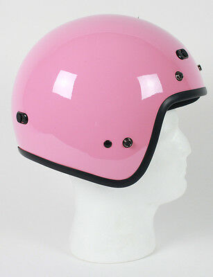 Pink Open Face Retro 3/4 Motorcycle Helmet DOT Vents Biker Cruiser Bobber M L XL