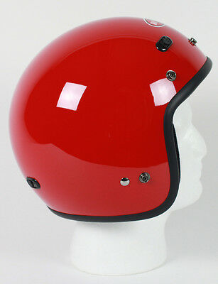 Red Open Face Retro 3/4 Motorcycle Helmet DOT Vents Biker Cruiser Bobber M L XL