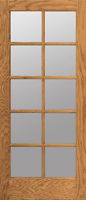 10 Lite Red Oak Clear Tempred Glass Stain Grade Solid Interior Wood French Doors