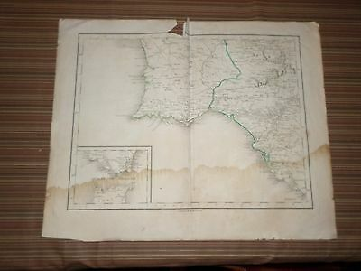 Rare Antique Map of Southern Portugal & Spain  Early 19th century