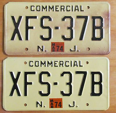New Jersey 1974 COMMERCIAL VEHICLE License Plate PAIR # XFS-37B