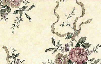 Wallpaper Shabby Chic Roses Beige Rose Green Ribbons ES40054 Double Rolls