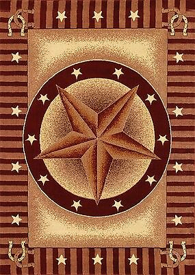 Western Rust Red and Beige Texas Star and Horseshoes 8X11 Area Rug