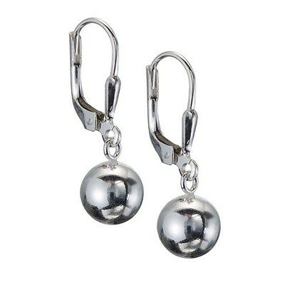 925 Sterling Silver Dangling Polished Ball Leverback Earrings