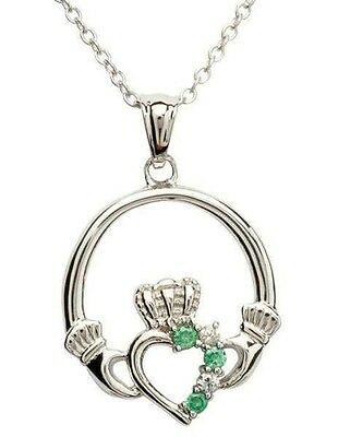 Irish Sterling Silver Open Claddagh Pendant Stone Set Green And Clear Cz Shanore
