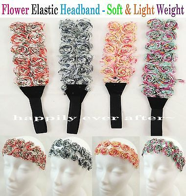 Flower Elastic Headband - Fashion Flower Headband - Soft & Flexible *US SELLER*
