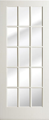 18 Lite Primed Smooth MDF Solid Wood Interior French Doors 8'0 Height - Prehung