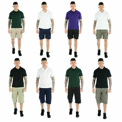 Mens Plain Shorts Cargo Combat Casual Summer Beach Poly Cotton Pockets 3/4 Pants