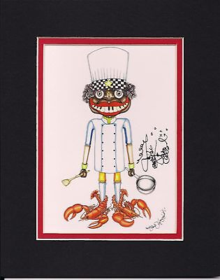 """NEW ORLEANS CHEF /""""I LOVE TO COOK/"""" Jamie Hayes GICLEE SIGNED FISH ALLIGATOR"""