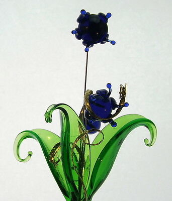 Cute Small Blue Crystal Glass Flower In Vase Lovely Mantelpiece Shelf Decor New