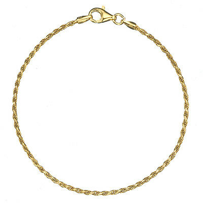 18K Gold over .925 Silver 1.7mm Italian Diamond Cut Twisted Rope Chain Anklet