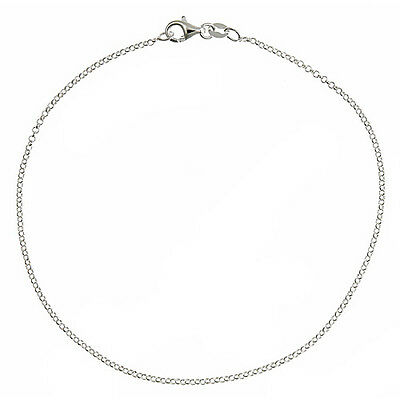 Solid 925 Sterling Silver 1.7mm Thin Italian Round Rolo Cable Link Chain Anklet
