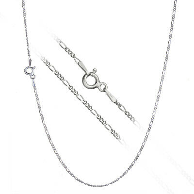 Pure 925 Sterling Silver Super Thin .8mm Italian Figaro Chain Necklace ALL SIZES