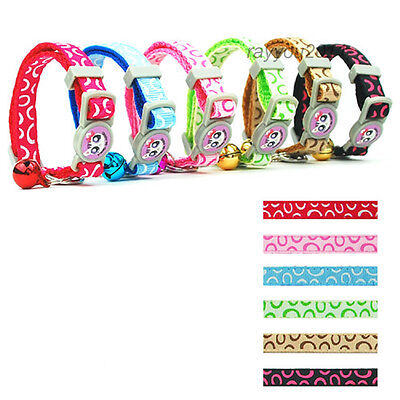 Cute Nylon Kitten Cat Collars with Bell Quick Release for Kitty 17-28cm 6 Colors