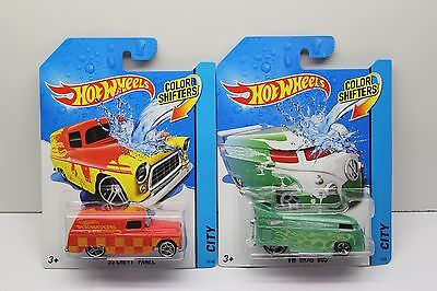 Hot Wheels Color Shifters Lot of 2 VW Volkswagen Drag Bus and '55 Chevy Panel