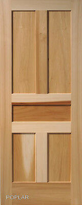 5 Panel Poplar Flat Shaker / Mission Stain Grade Solid Core Interior Wood Doors