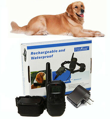 Waterproof Rechargeable LCD Vibra Shock No Barking Dog Remote Training Collar